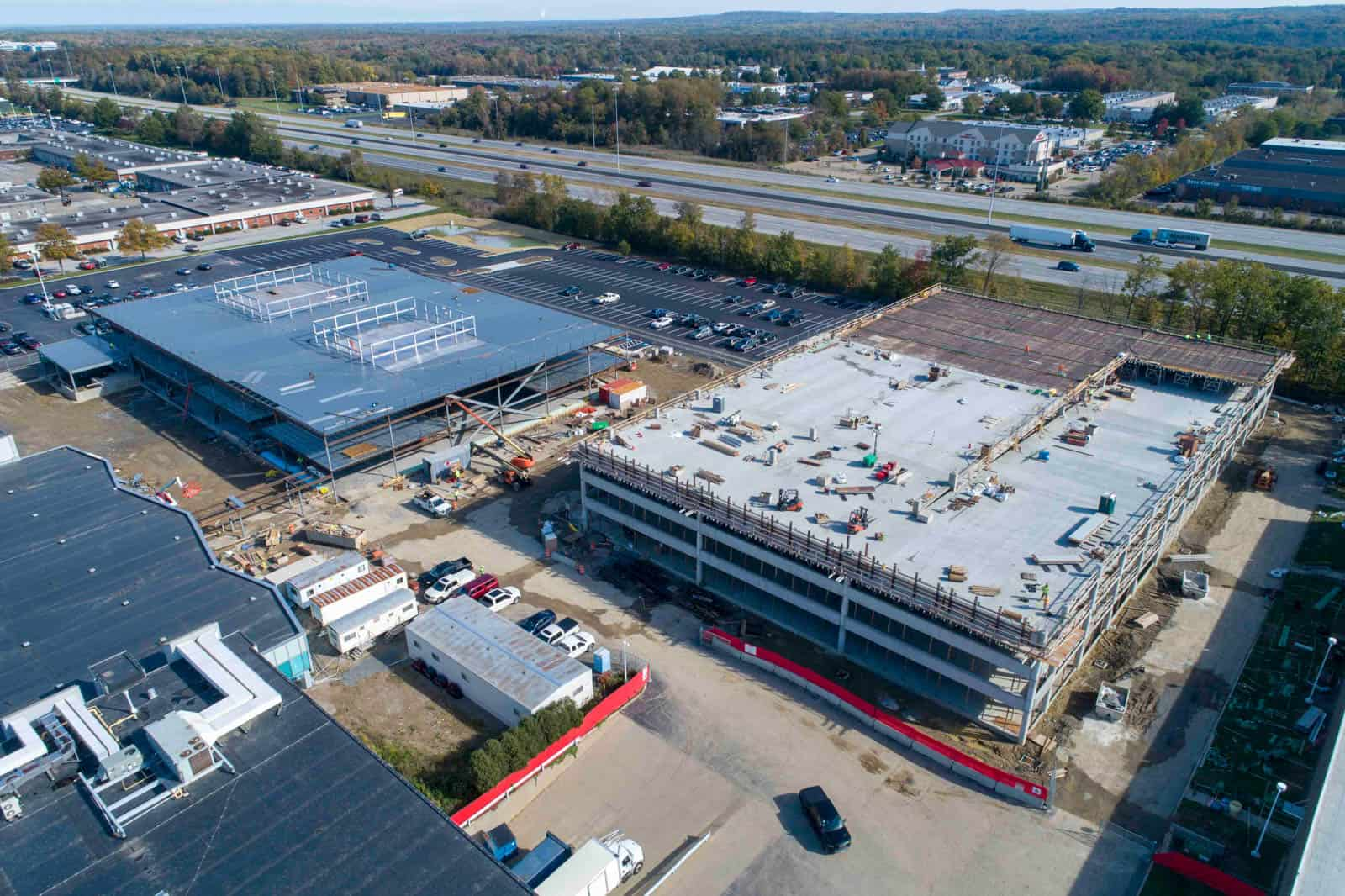 aerial drone photo of construction of parking garage and office building in Highland Heights, Ohio