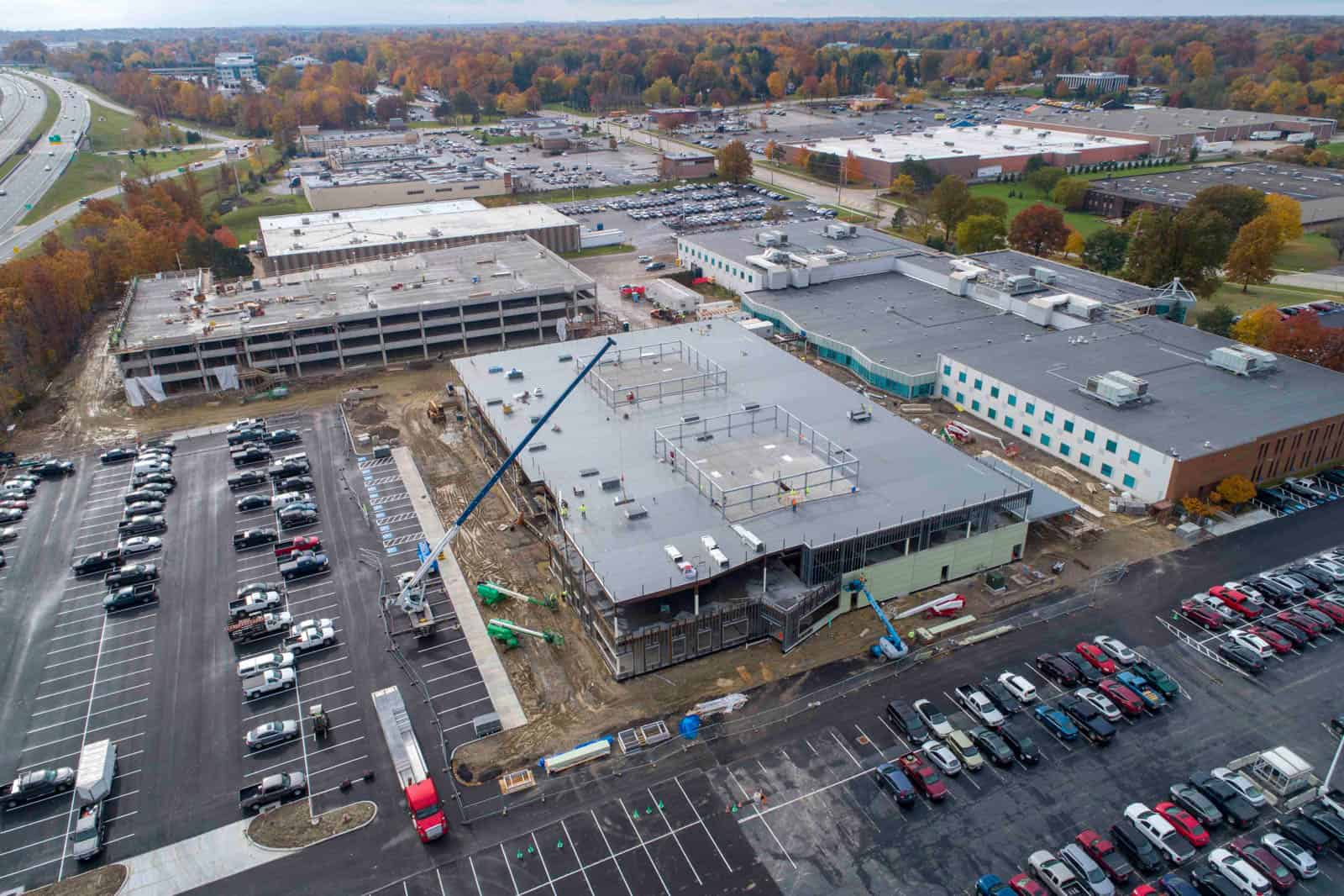 aerial drone photo of commercial office building and parking garage construction project in Highland Heights, Ohio