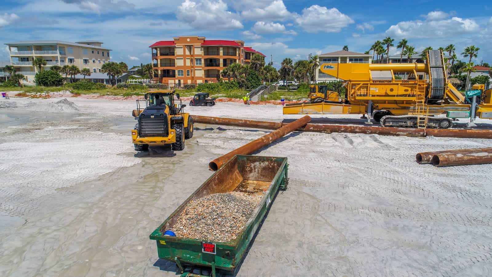 drone photo of water filtration equipment on Clearwater Beach, Clearwater, FL