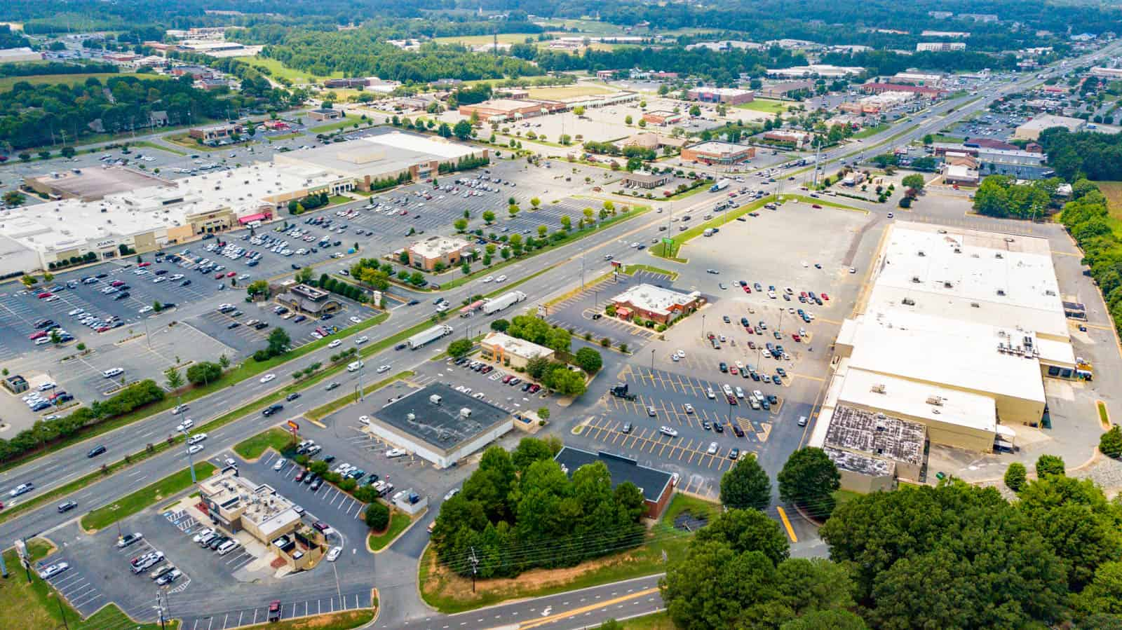 aerial drone photo of commercial property in Monroe, North Carolina