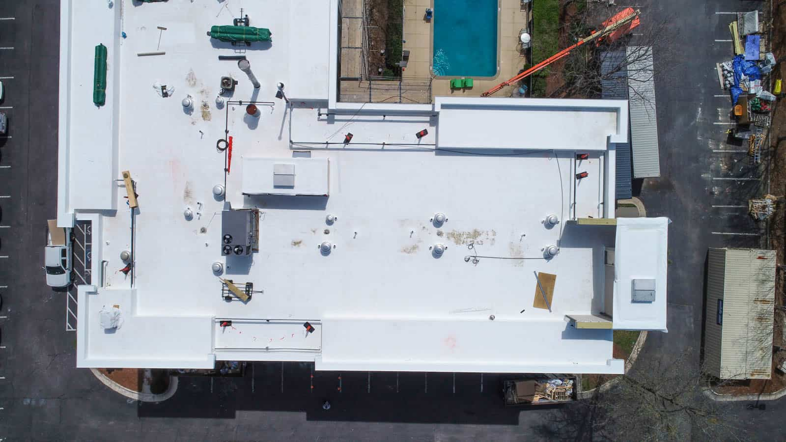 top down drone photo of hotel rooftop in Raleigh, NC