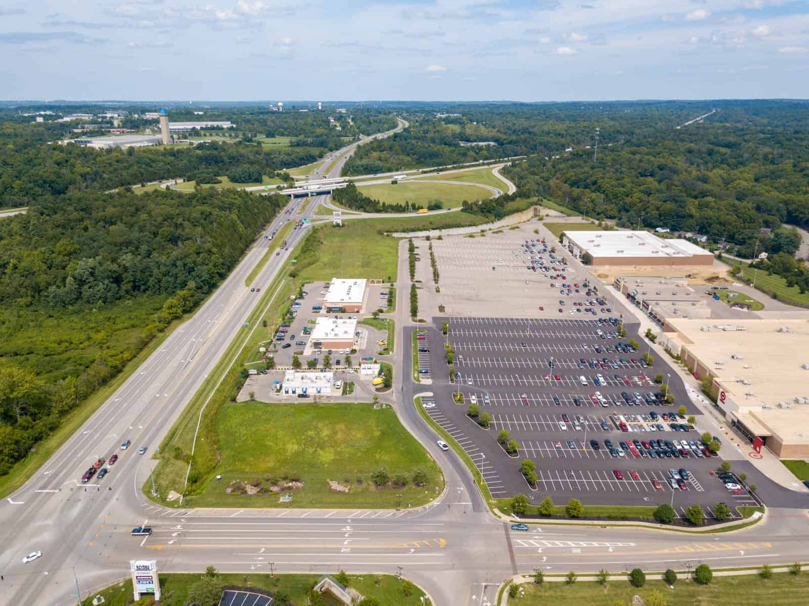 aerial drone photo of commercial strip mall in South Lebanon, Ohio