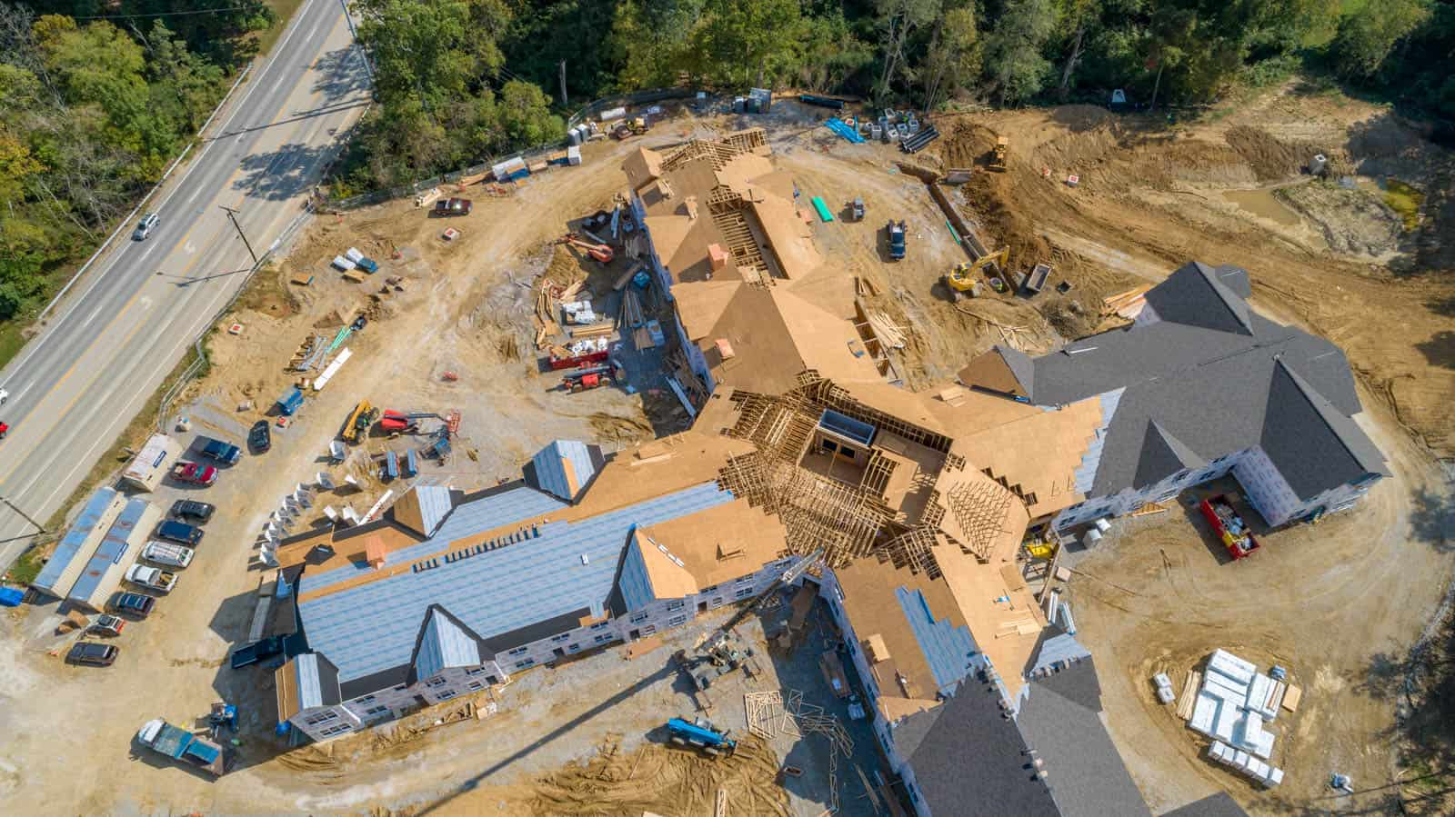 aerial drone photo looking down on rooftop construction project of building in Anderson Township, Cincinnati, Ohio