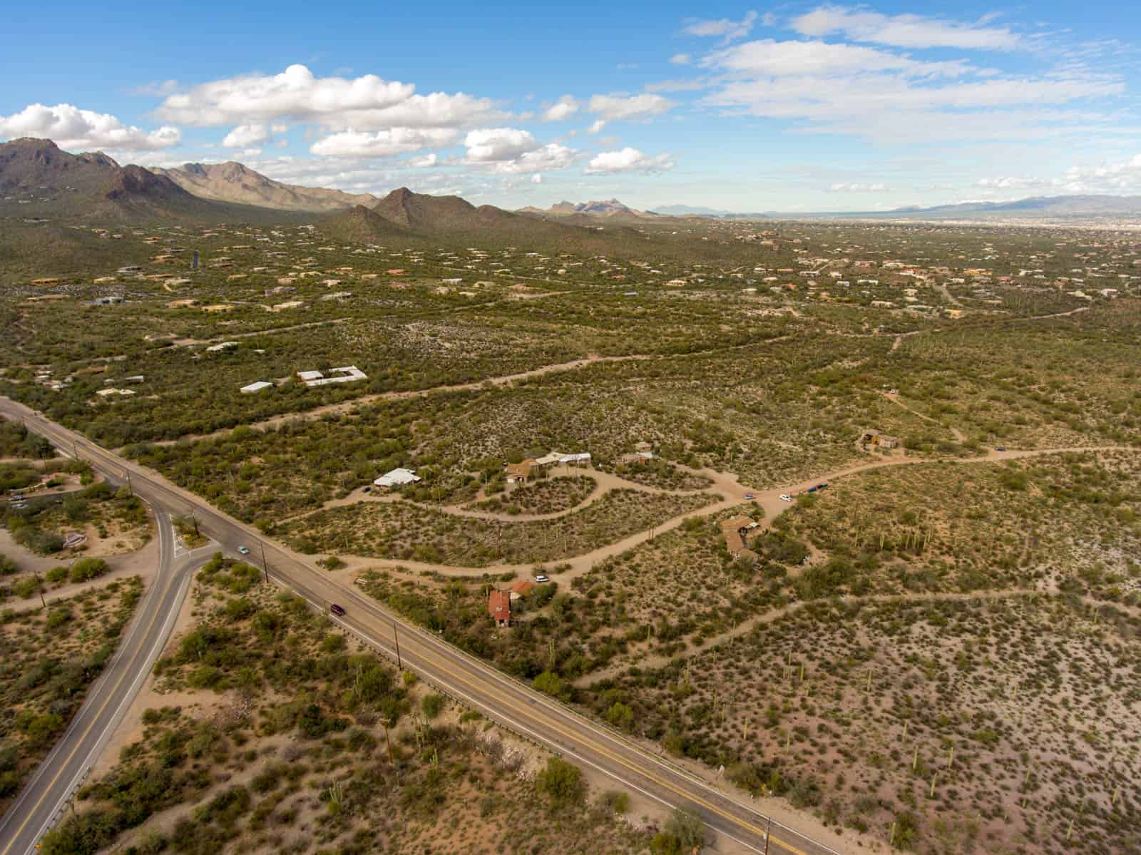 aerial drone photo of residential property in Tucson, AZ