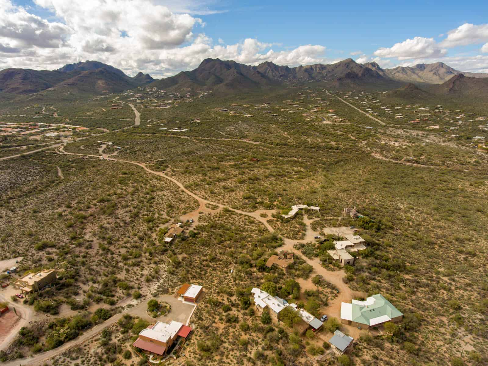 drone photo of residential properties in Tucson, AZ