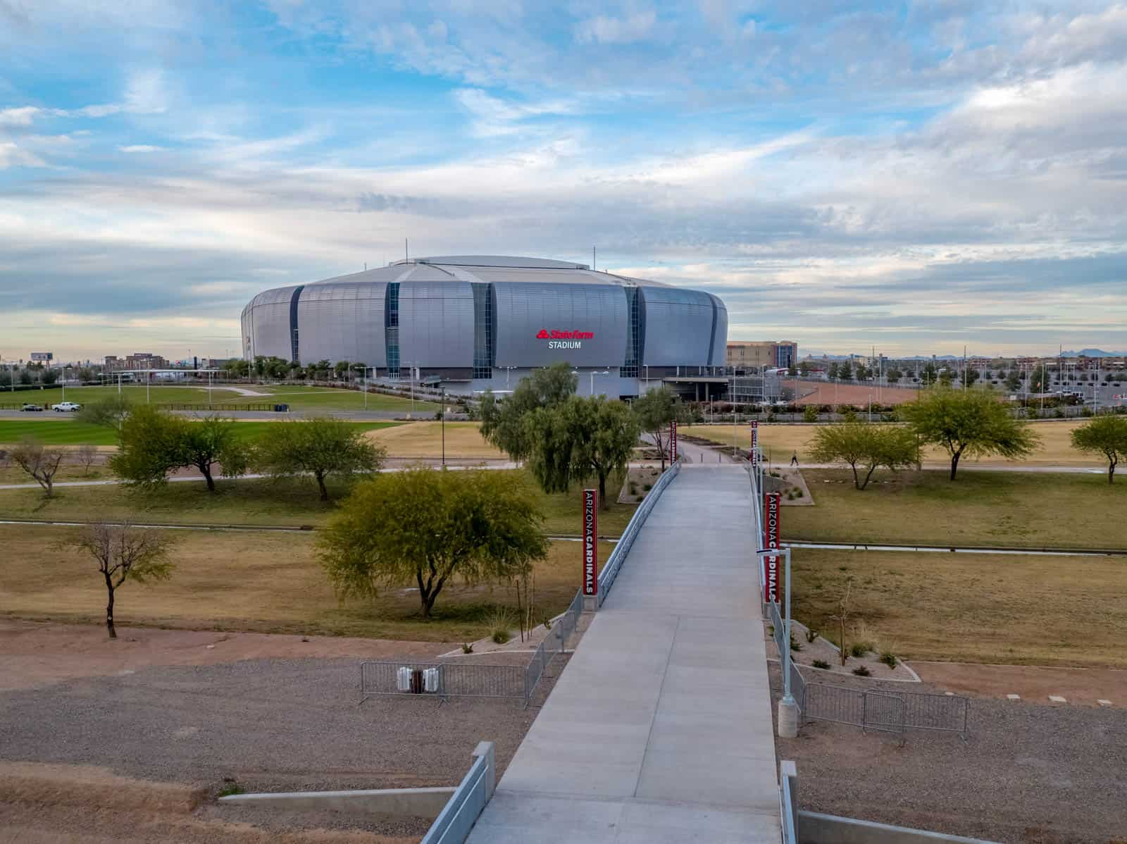 aerial drone photo of State Farm Stadium in Glendale, AZ