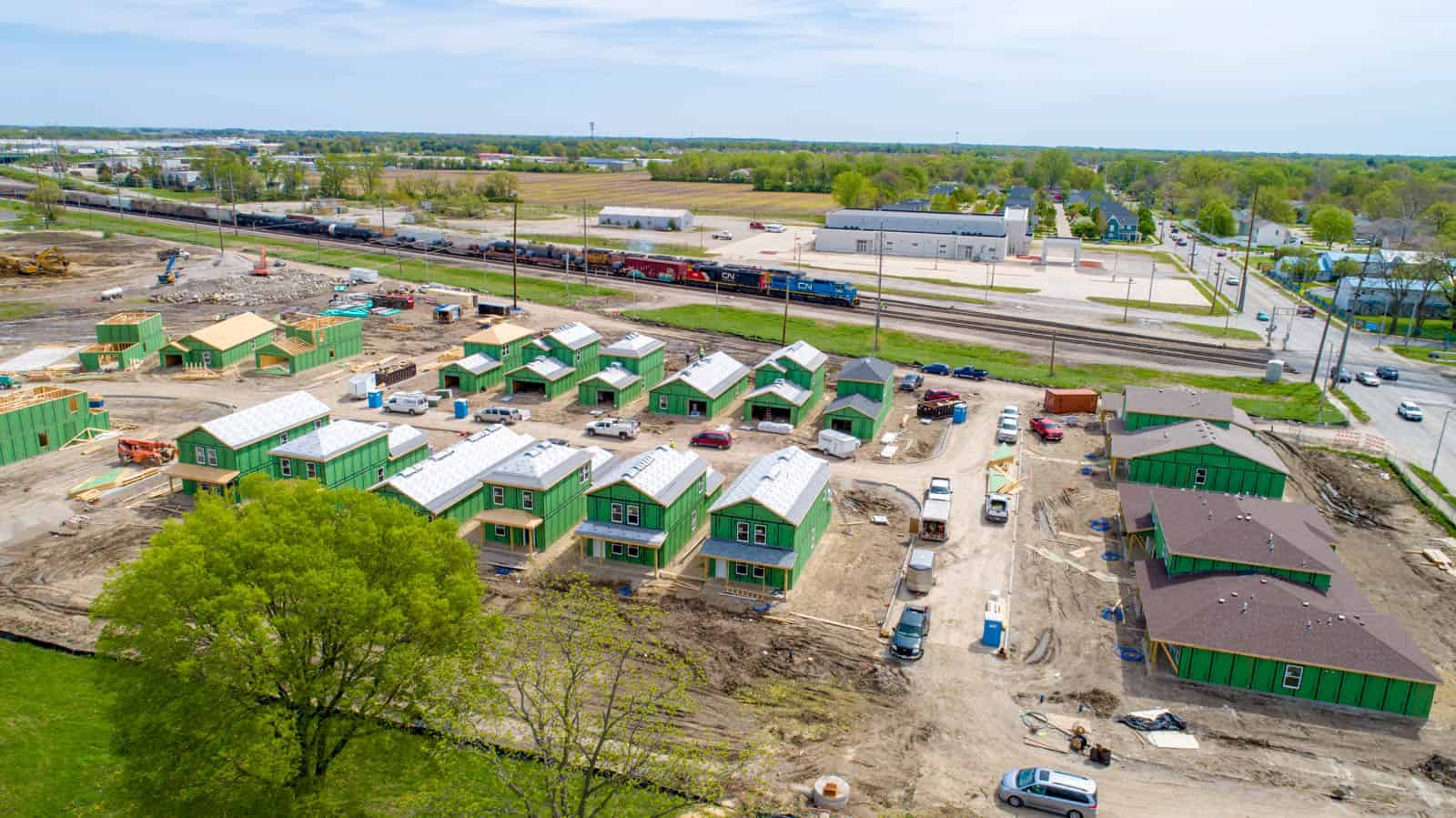 drone photo of commercial development project in Peoria, IL
