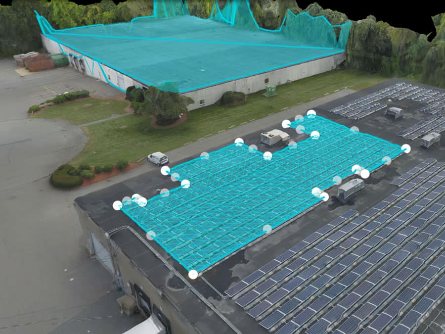 DroneDeploy roof measurement of solar panel installation on 3D model