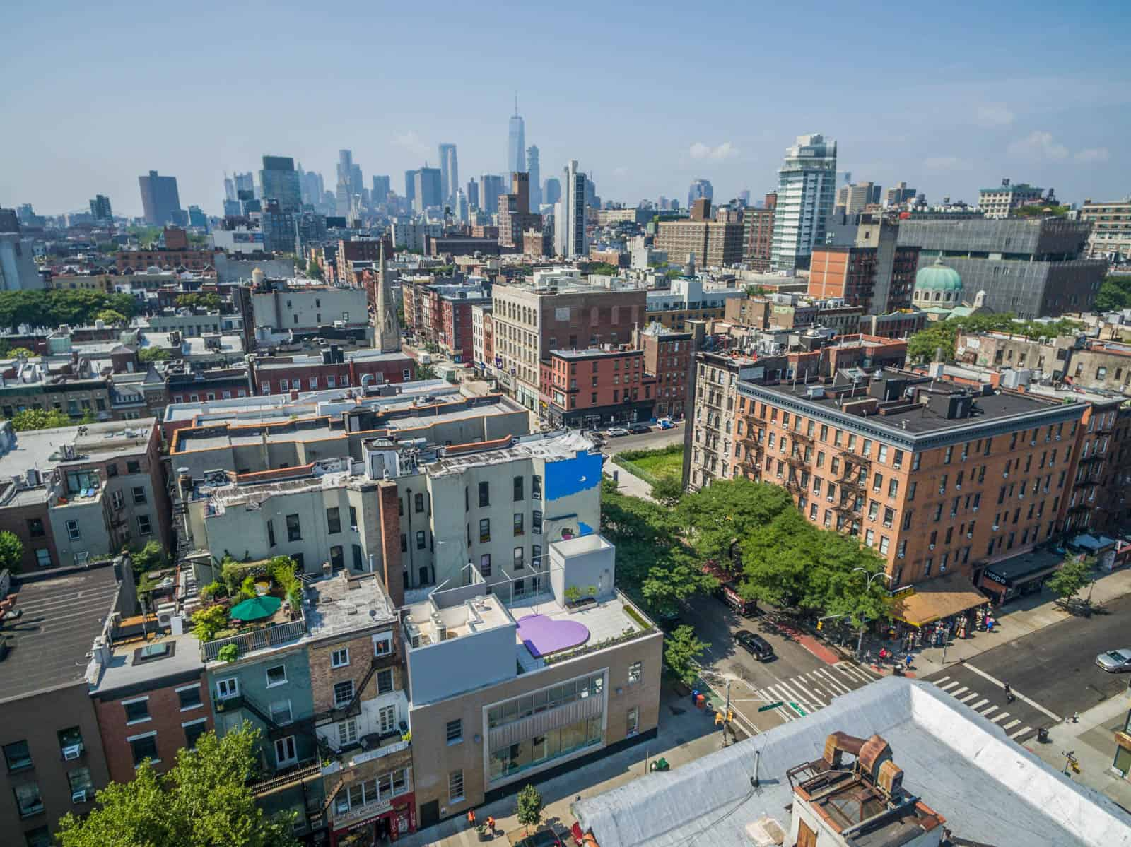 aerial drone photos of buildings in Williamsburg, Brooklyn, New York