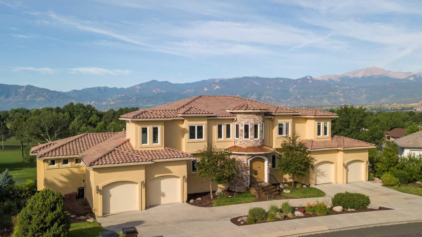 drone photo of luxury home in Colorado Springs, CO
