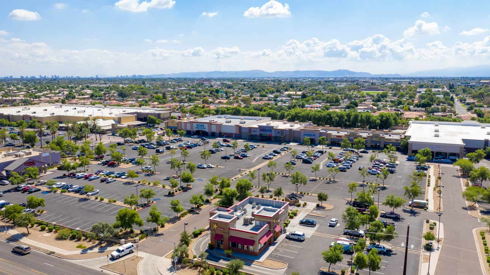 aerial drone photo of commercial strip mall