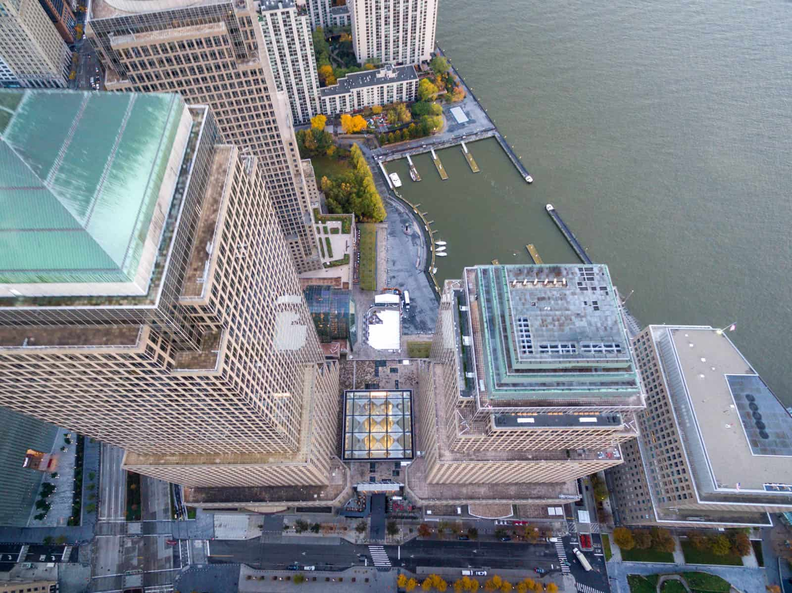 top down aerial drone photo of commercial building in New York, NY