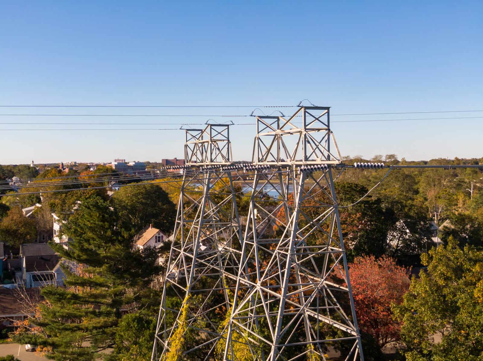 drone photo of power lines in Salem, MA