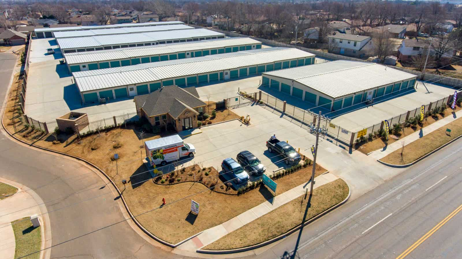 aerial drone photo of storage unit facility in Oklahoma City, OK