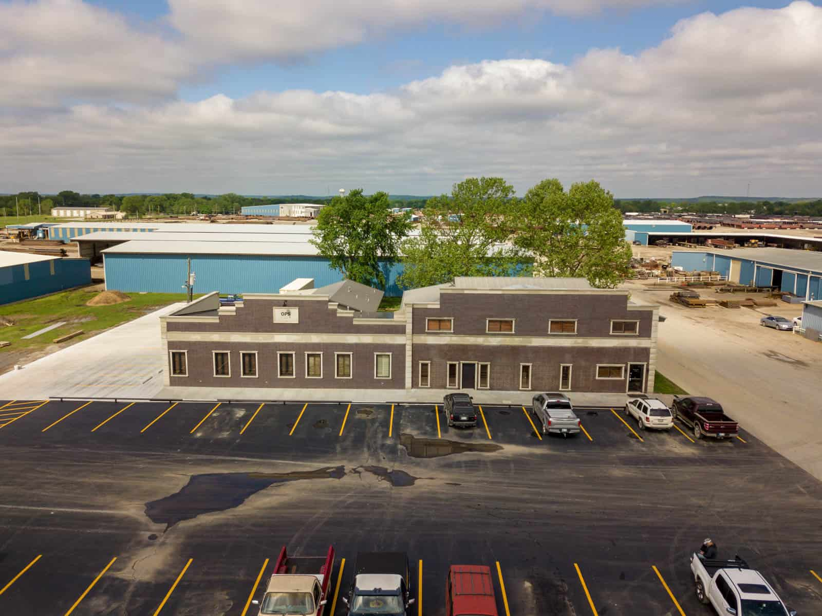 drone photo of commercial property in Dewey, OK