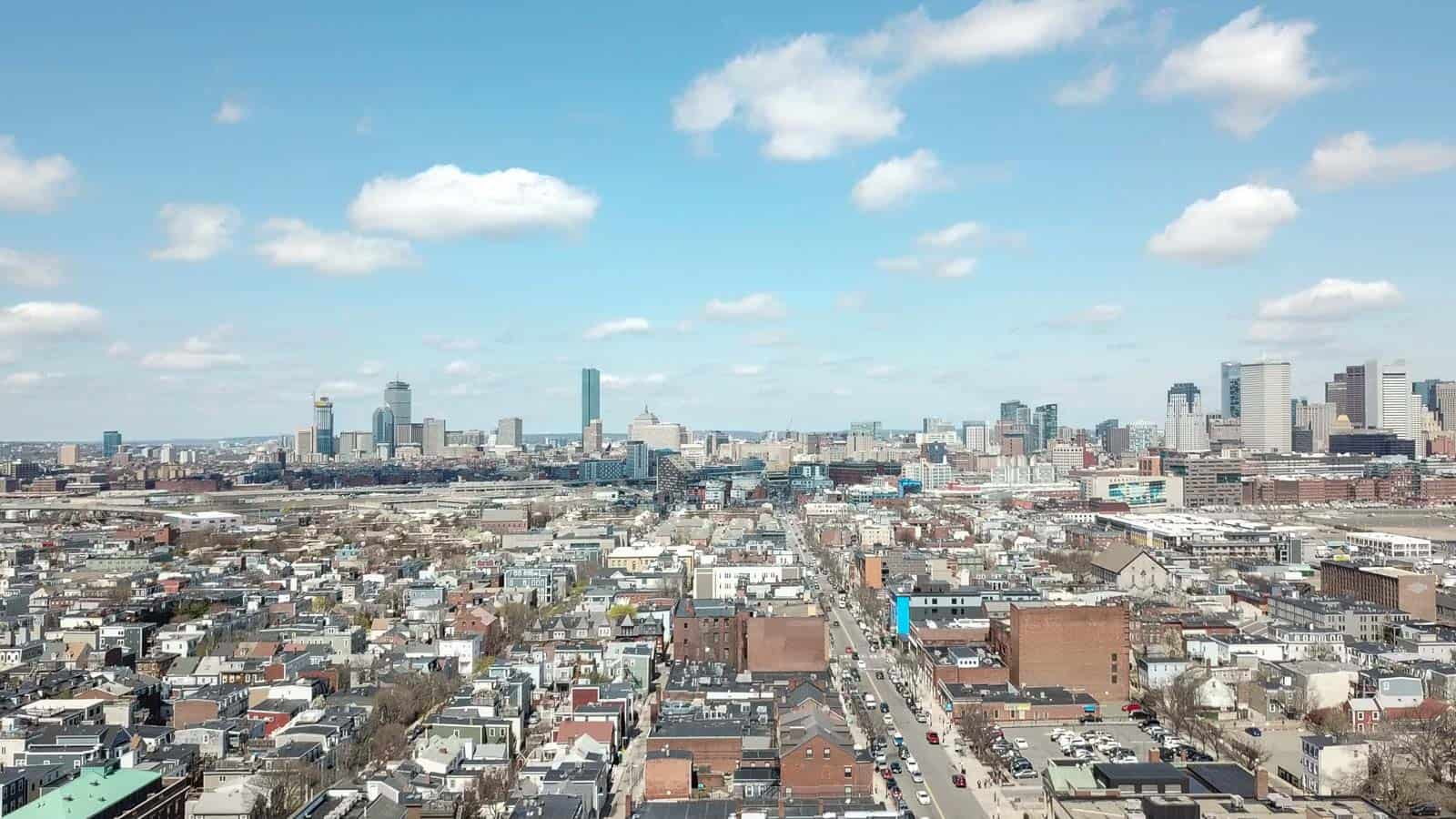 aerial drone photo of city of Boston