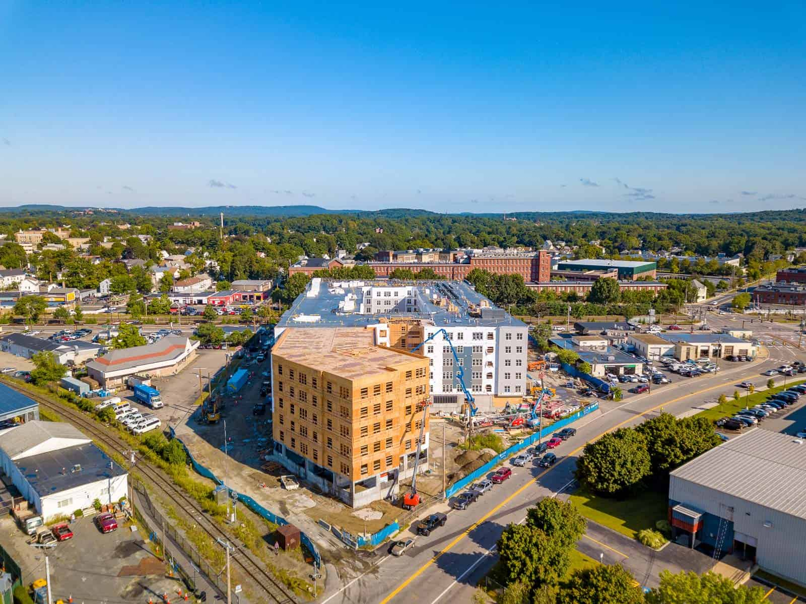 drone photo of apartment building construction project in Framingham, MA