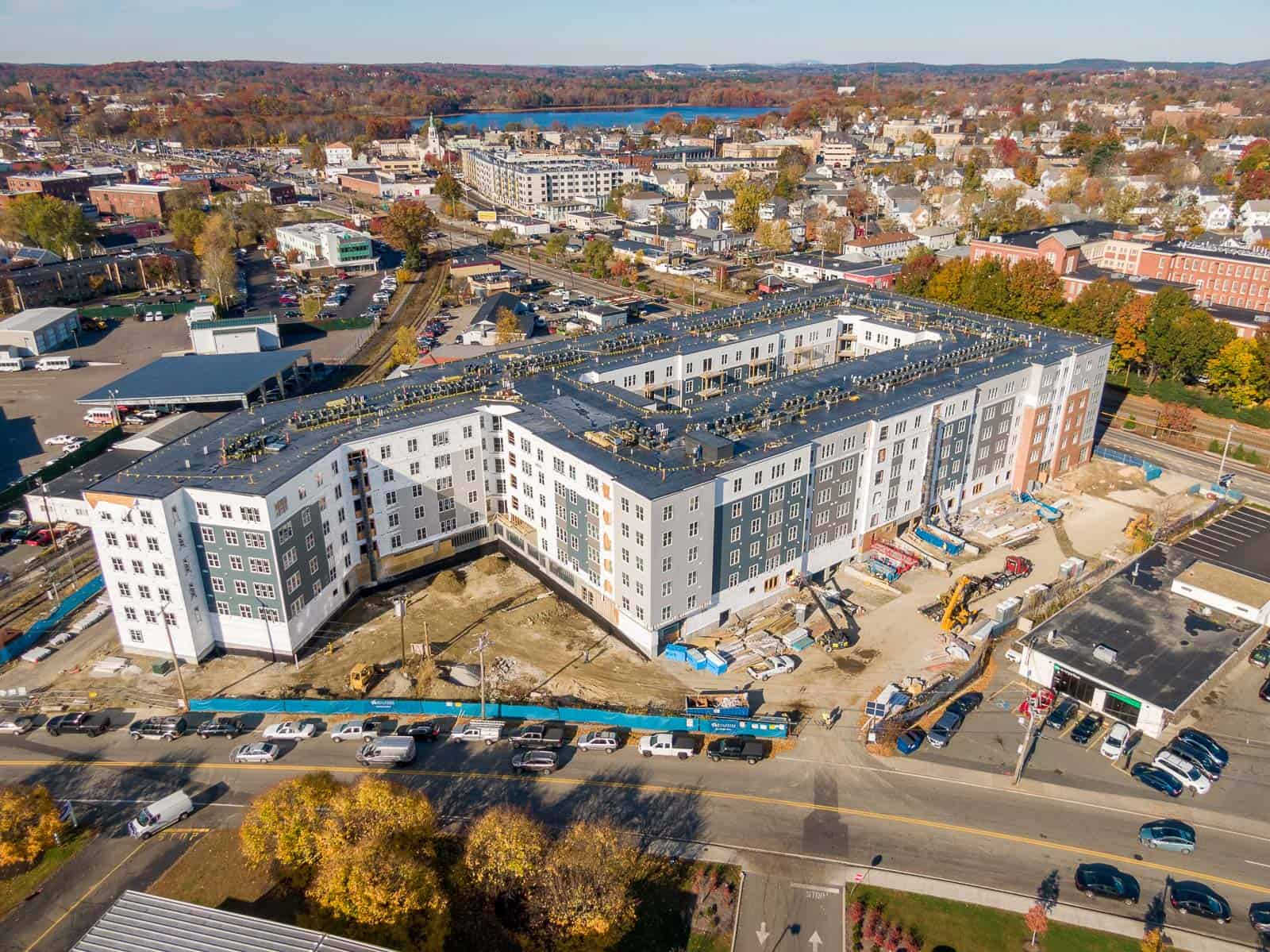 aerial drone photo of construction project in Framingham, MA