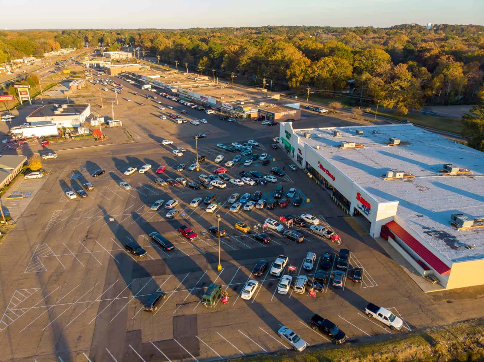 drone photo of commercial strip mall in Pearl, MS