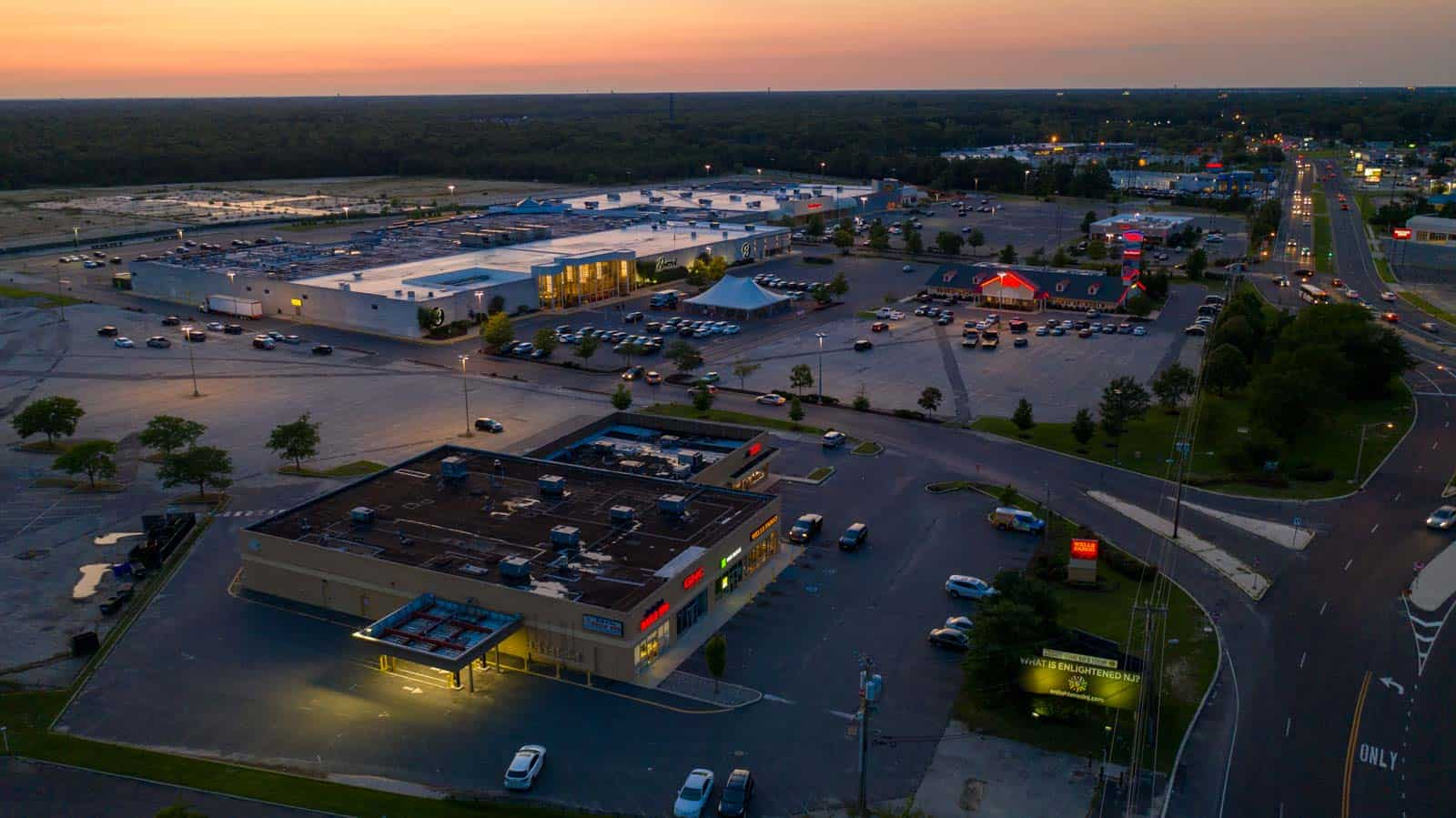 aerial overview photo of commercial shopping center in Egg Harbor Township, NJ