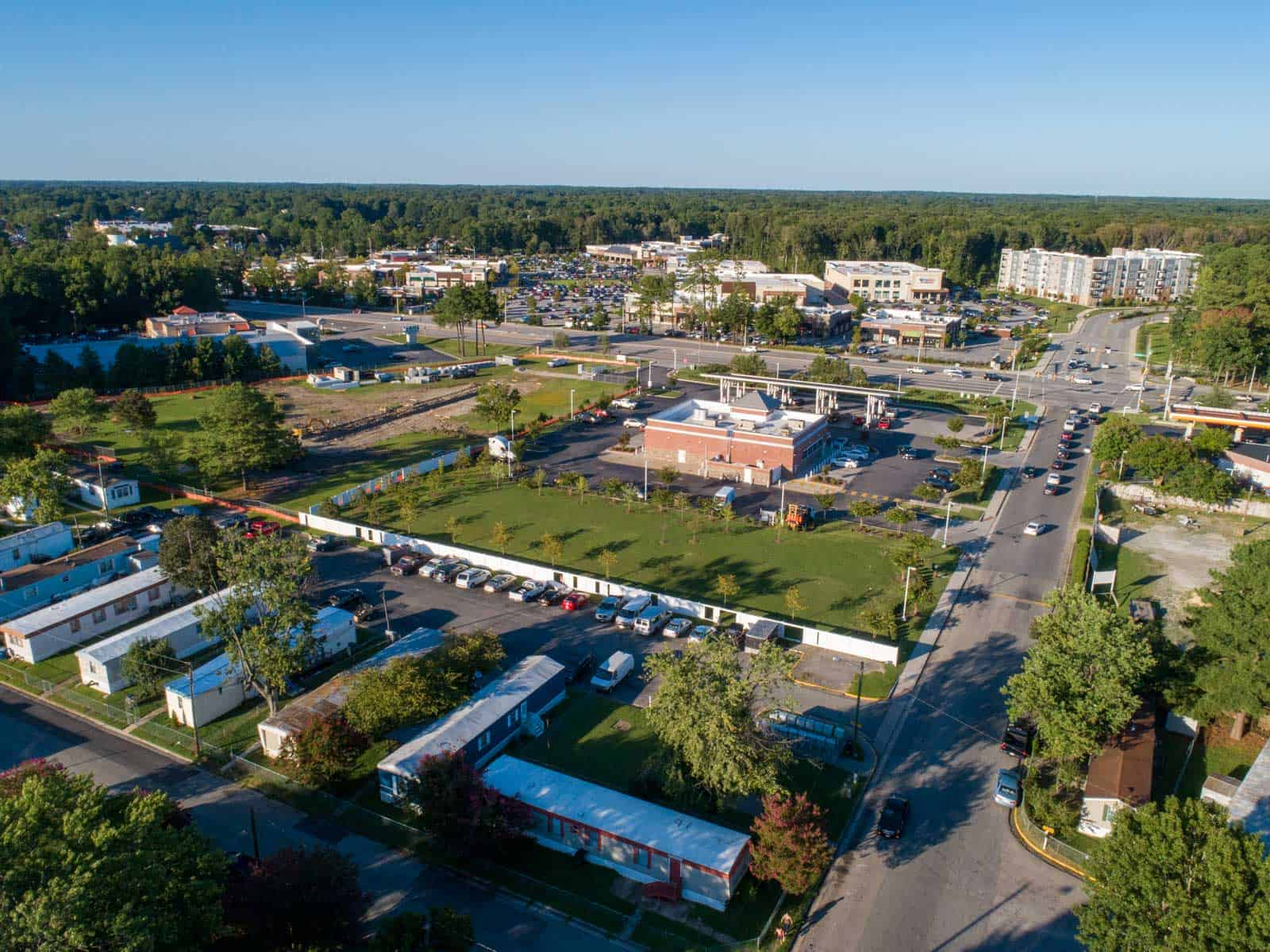 aerial drone photo of commercial real estate property taken above mobile homes in Newport News, VA