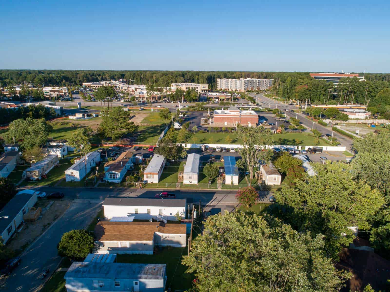 aerial drone photo of mobile home living community in Newport News, VA