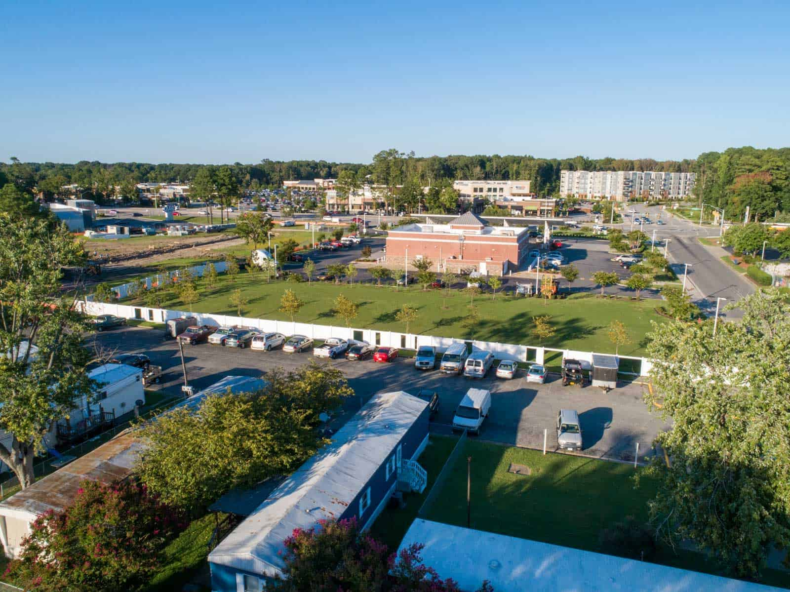 aerial drone photo of tech center building taken from above mobile home community in Newport News, VA