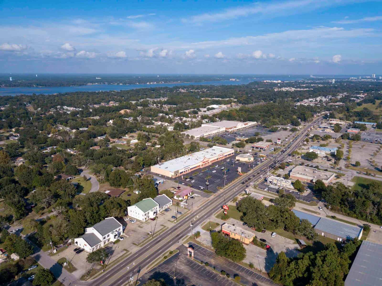 high altitude aerial drone photo of commercial property in Biloxi, MS