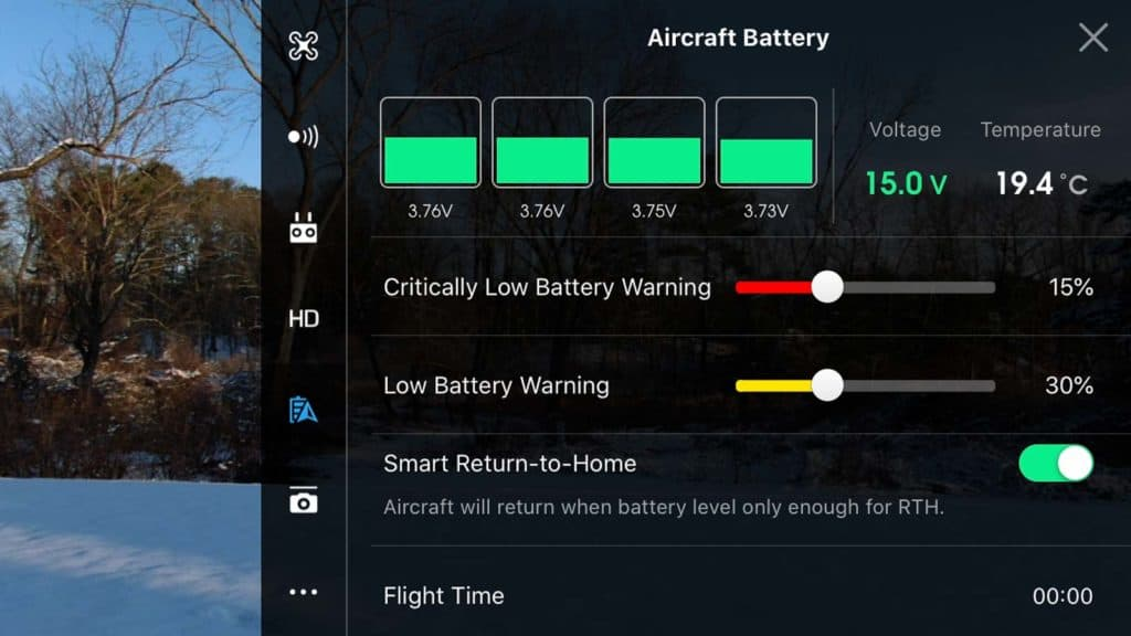 dji go 4 app aircraft battery settings