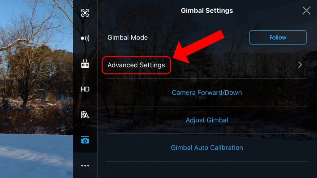 dji go 4 app advanced gimbal settings