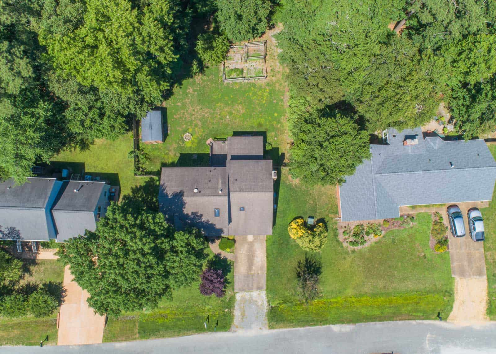 top down drone photo of residential property in Yorktown, VA