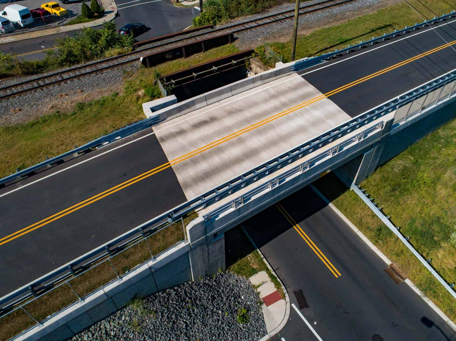 aerial drone photo of recently constructed bridge in Audubon, NJ