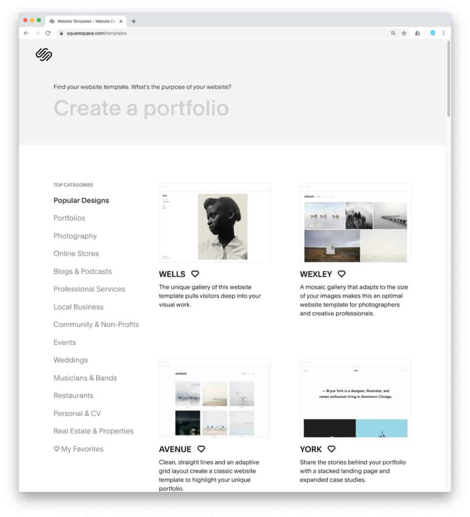 squarespace available templates