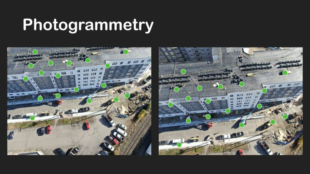 points plotted on aerial photos of construction site using photogrammetry to triangulate point position