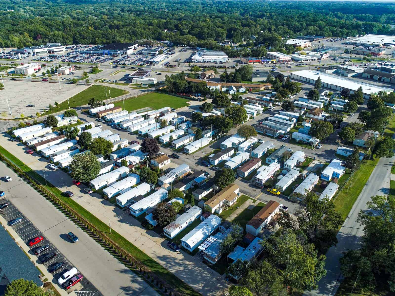 aerial drone photo of residential trailer park in Grand Rapids, MI