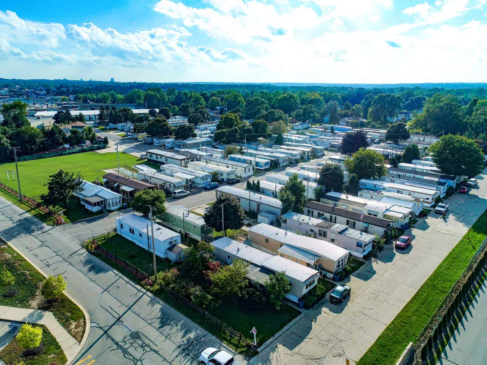 low altitude drone photo of residential trailer home park in Grand Rapids, MI